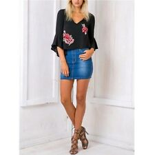 Blouse Blouse Chiffon Fashion V Neck Summer Casual Short Ruffle Embroidery