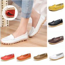 Women Casual Leather Slip On Comfort Shoes Moccasin Oxfords Loafers Flat Shoes e