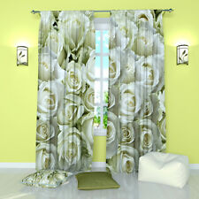 """Wonderful Roses Floral Window Curtains Panel (Set of 2), Polyester, 84"""""""