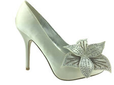 LADIES SATIN CORSAGE TRIM DETAIL PEEP TOE WEDDING SHOES IVORY SIZE 3-8