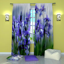 """Gentle Irises Floral Window Curtains Panel (Set of 2), Polyester, 84"""""""