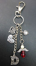 Great Grandma Angel and Hearts Keyring / Bag Charm, Choose Initial and Colours