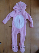 CUTE BABY TODDLER FLEECE ALL IN ONE DRESSING UP PLAYSUIT PINK RABBIT BUNNY BNWT