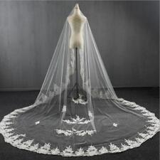 Luxury White/ivory 3M Cathedral veil 1T Lace Bride veil Wedding +comb