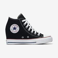 NEW Womens Converse Chuck Taylor Mid Wedge Sneaker Black Platform Shoes LUX