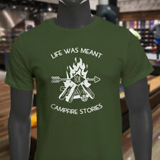 LIFE MEANT FOR CAMPFIRE STORIES CAMPING OUTDOORS Mens Military Green T-Shirt