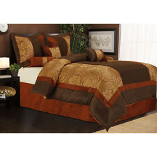 Traditional Classic Elegant Gold Brown 7-PC Comforter Set Cal King Queen King
