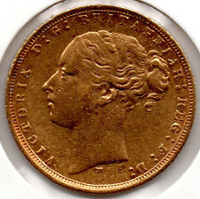 1875 Full Gold Sovereign QUEEN VICTORIA YOUNG HEAD Melbourne Mint NICE COIN