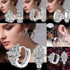 Stunning Luxury 925 Sterling Silver Crystal Rhinestone Hoop Earrings Jewelry