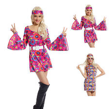 Ladies 1960s 1970s Hippy Fancy Dress Costume Hippie Flower Power Womens Outfit