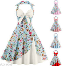 New Women's Halter Floral 1950's Vintage Style Retro Evening Party Swing Dress