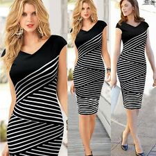 Women Summer Striped Plus Size Casual Knee Length Pencil Dress Vip-0127