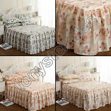 Fitted Quilt Bedspread Set with Frill Valance & Pillowshams - Floral Patchwork