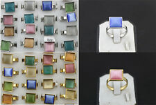 Lots 26PCS Multicolor Cat eye stone Stainless steel silver/gold P Classic Rings