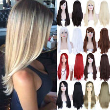 Soft Ladies Full Wig Long Wave Straight Hair Synthetic Cosplay Hairpiece Wigs #6
