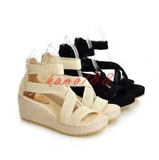 Plus sz Gladiator Womens Shoes Strappy cross Sandals platform Wedge heels zip up