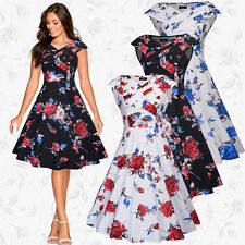 UK 1950s Retro Ladies Floral Rockabilly Swing Evening Prom Cocktail Party Dress