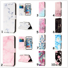 Natural Marble Flower Leather Wallet Cards Holder Cover Case For Samsung Galaxy
