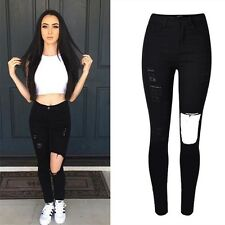 Woman Black Color Elastic High Waist Ripped Denim Hole Skinny Jeans Gk441