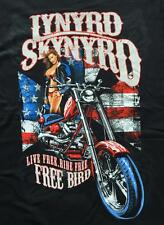 Lynyrd Skynyrd Biker PinUp Girl Live Free Southern Country Rock Licensed T-Shirt