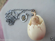 Vintage Long Sterling  Links Chain w/ Hatching Chick Egg Chicken/French  Fob