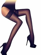 New Ladies Black Sheer Lace Top Thigh High Hold Up Polka Dot Stockings One Size