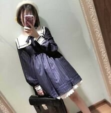 Women Long Sleeve Striped Sailor Collar Knee Length Dress Vip-0366