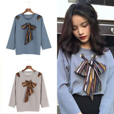 Women Lady Lace Up Big Bow Tie T-Shirt Long Sleeve Blouse Tops Casual Pullover