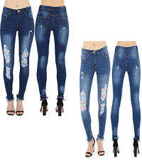 Ripped Fadded Womens Ladies Mid Waisted Blue Skinny Fit Jeans Butterfly Style