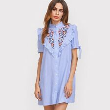 Women Summer Short Sleeve Blue Color Striped Sleeve Embroidered Shirt Dress