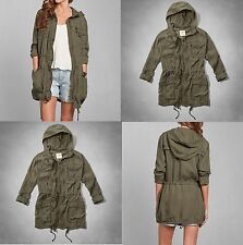 NWT Abercrombie & Fitch Lightweight Drapey Parka Trench Jacket Hoodie sz M L