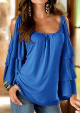Women T-Shirt Solid Off Shoulder Ruffled Half Sleeve Lotus Leaf O-Neck Top Tee