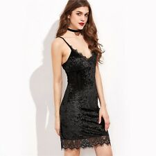 Slip Dress Womens Sexy Dresses Party Night Club Dress Black Lace Trim Velvet
