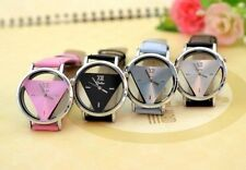 Ladies Mens Glass Hollow Triangle Dial Faux Leather Wrist Watch Christmas Gift