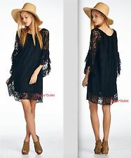 VELZERA S M L Black Floral Lace Hippie Tunic Dress New Gypsy Bohemian Festival