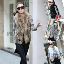 Women Real Knit Farms Rex Rabbit Fur Vest/gilet with Chic Gift Ussuri fur Collar