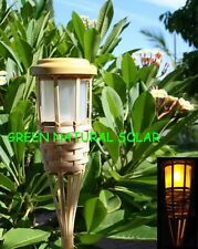 6-Pack Solar-Powered Bamboo Tiki Torch Led Path Lights W/ 5 LEDs & 2 Batteries