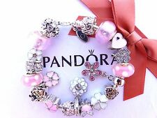Authentic Pandora Sterling Silver Bracelet European Charm I Love You Pink