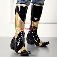 Men's Pointed Toe Block Heel Knee High Boots Knight Riding punk high top Shoes