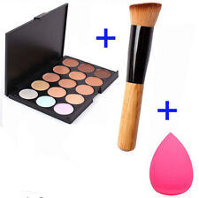 15 Colors Contour Face Cream Makeup Concealer Palette Sponge Powder Brush HS