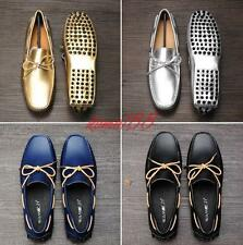 Mens Bowtie moccasin-gommino Soft Gold Loafers Slip on driving flat Shoes size