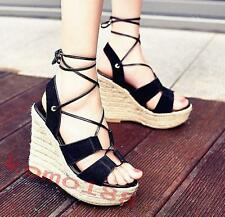 Womens High Heel platform Wedge heel Open Toe Lace Up Ankle Strap Sandals Shoes