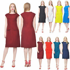MARYCRAFTS WOMEN'S CASUAL VINTAGE RETRO 1960S DRESS SHIFT KNEE POCKETS DRESSES