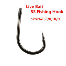 15pcs Live Bait Fishing Hooks Stainless Steel Saltwater Fish Hook,Fishing Tackle