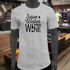 SAVE WATER DRINK WINE BOTTLE DRINK ALCOHOL HUMOR Mens Gray Extended Long T-Shirt