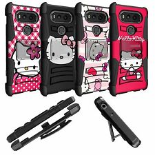 Hybrid Holster Case for LG V20 Cover W/ Kickstand and Hello Kitty Designs