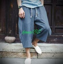 New Summer Mens loose linen cotton harem cropped pants beach trousers bloomers