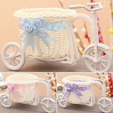 Lovely Rattan Tricycle Bike Basket Flower Vase Storage for Home Wedding Decor