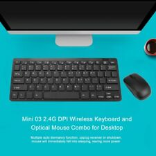Mini Thin 2.4G Wireless Keyboard and Optical Mouse Combo Kit for Desktop lot HH