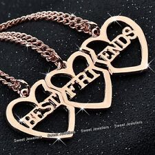 Xmas Gift For Her - 3 Part Rose Gold Heart Necklaces Sister Best Friends Forever